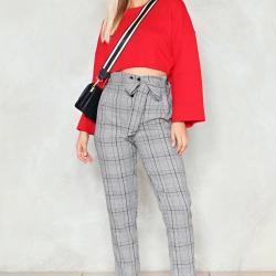 Brunette on Demand Check Pattern Pants