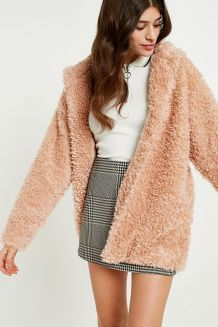 Light Before Dark Pink Teddy Hooded Jacket