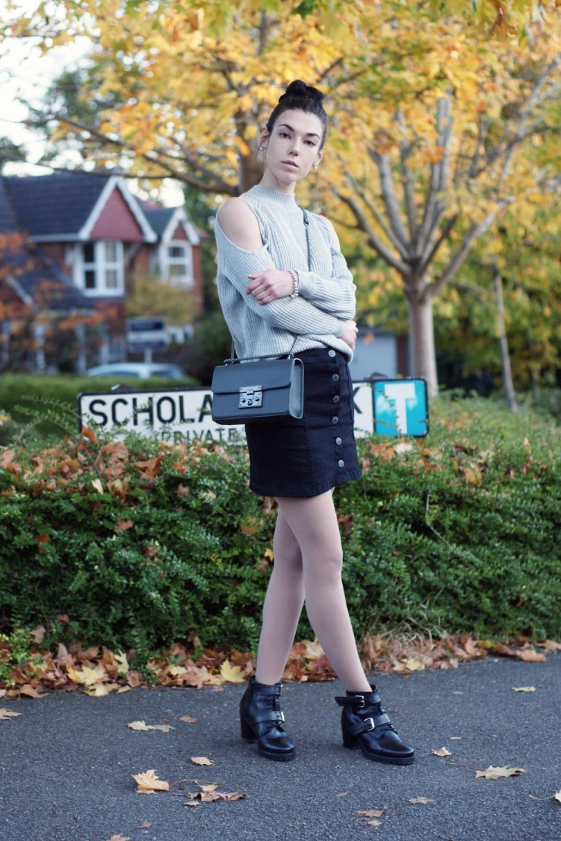 Denim skirt and cold-shoulder jumper