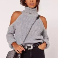 chunky cold shoulder jumper