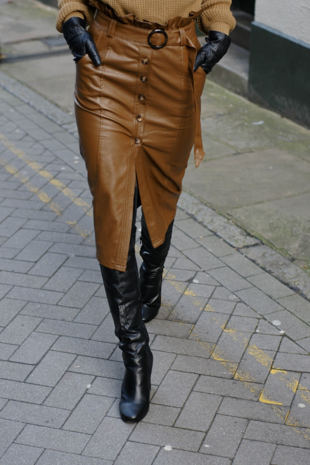 Over-the-knee Boots & Leather Skirt