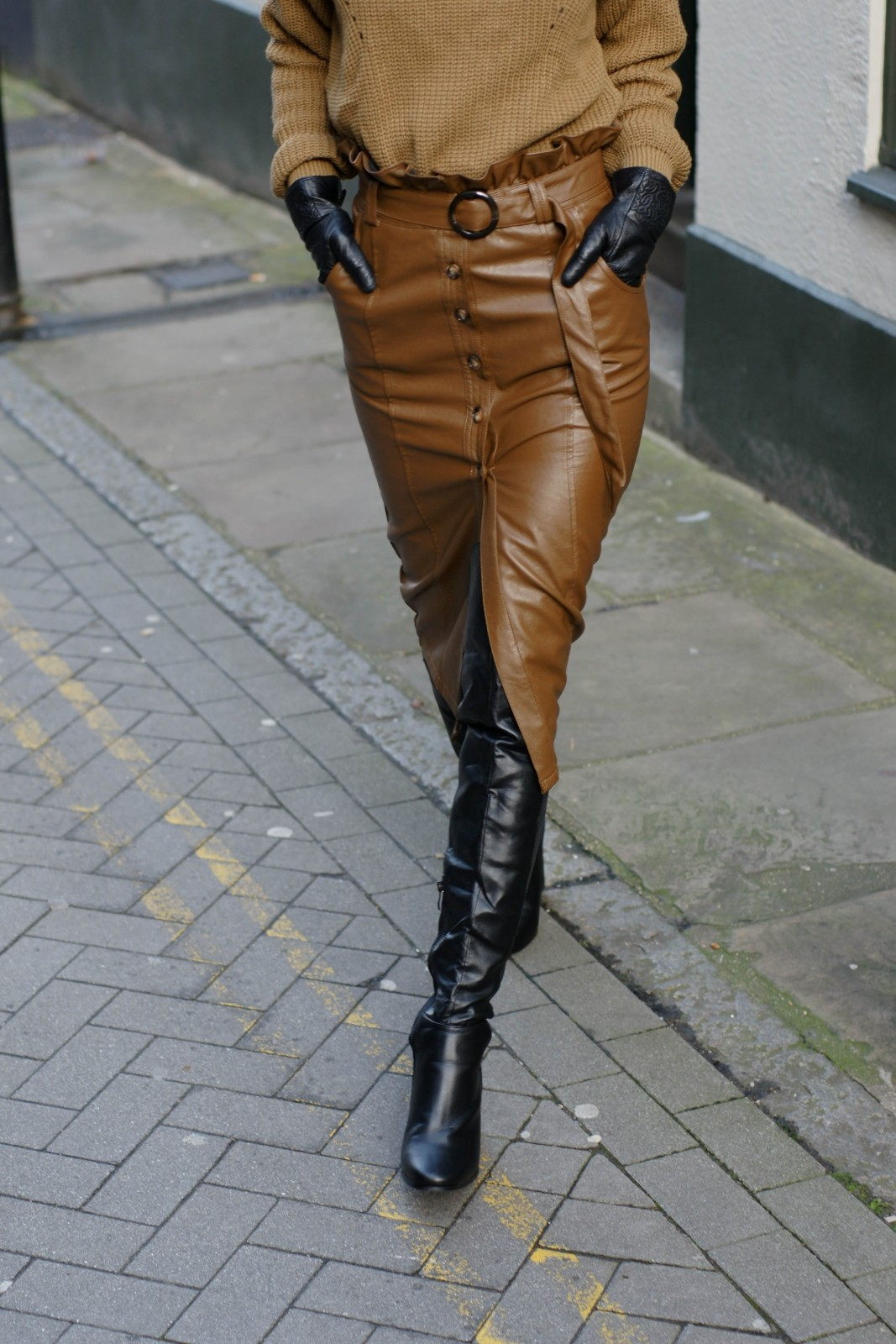 Fashion Blogger With A Leather Pencil Skirt
