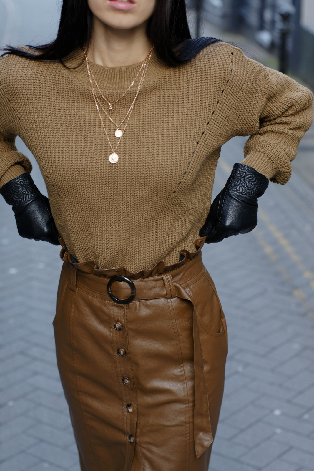 Oversized Jumper & Leather Pencil Skirt