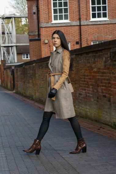 Daily Look | Suedette Check Trench Coat & Snake Print by Brunette on Demand