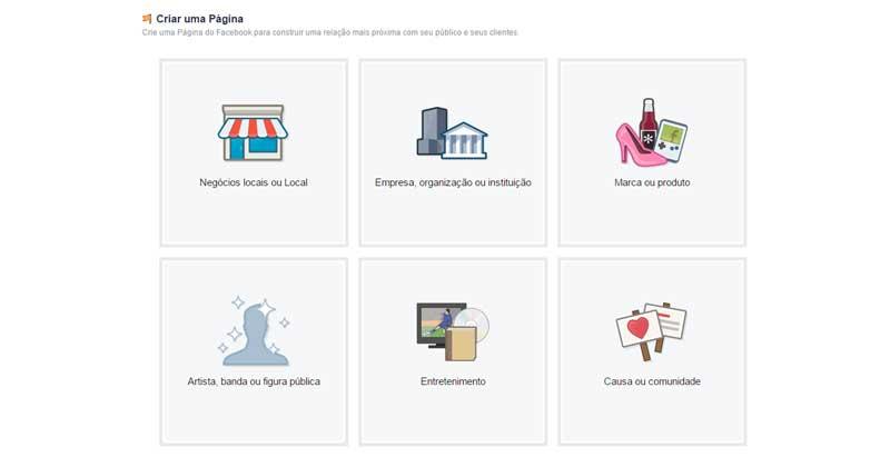 Como Criar uma Página para o Seu Negócio - Tipo de Negócio