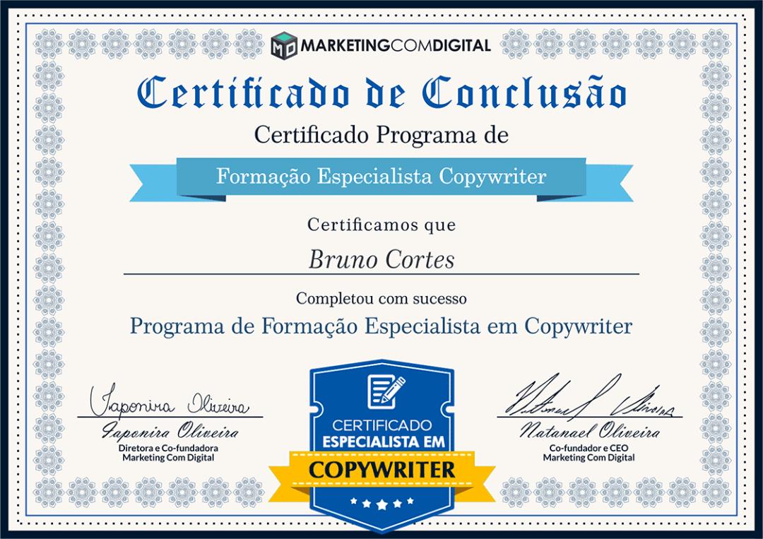 Certificado Especialista em Copywriter | Bruno Cortes