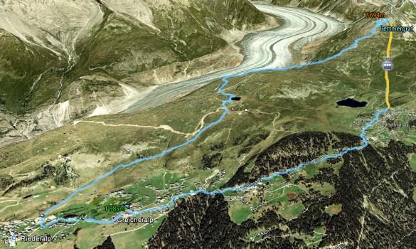 Tracé randonnée Riederalp - Aletsch