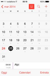 iOS 7.1 calendario