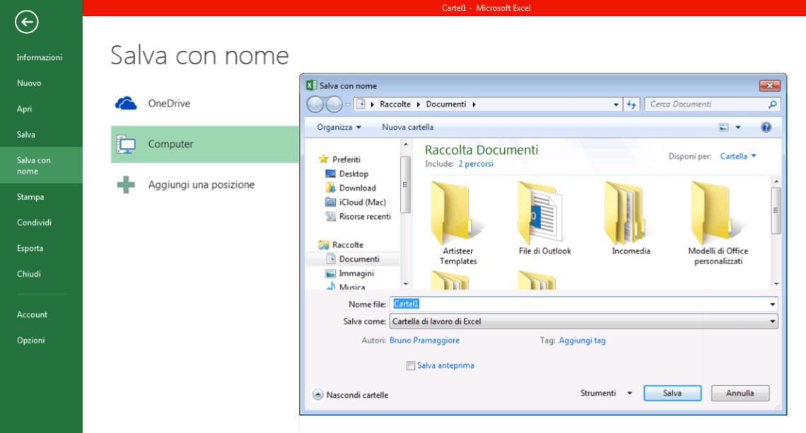 Excel 2013 Salva con nome