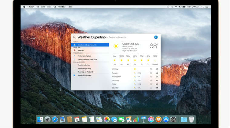 Spotlight MAC OSX El Capitan
