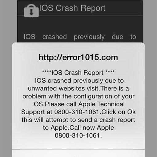 Truffa iphone e ipad crash