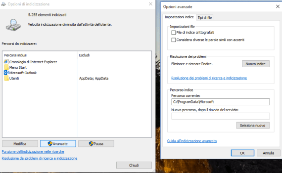 Indicizzare il disco con windows 10