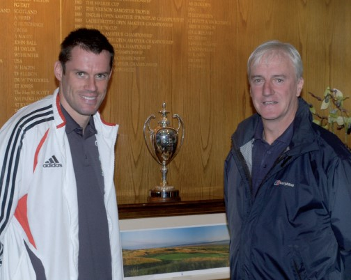Photo of Jamie Carragher, footballer, and Keith Lloyd, Centre Manager at Brunswick Youth and Community Centre.