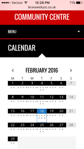 The Calendar on Brunswick Youth and Community Centre's website on an iPhone.