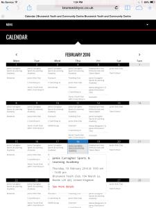 Brunswick YCC's calendar shown on a tablet.