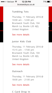 Brunswick YCC's calendar open showing activities for the day.