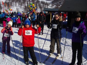 Group picture of young people from Brunswick Youth and Community Centre taking part in a cross country ski event in Norway