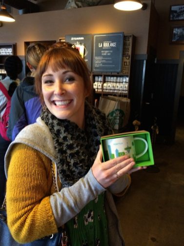 """Beth in Starbucks. We collected the """"You were here"""" mugs now!"""