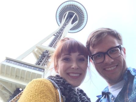 Both of us at the bottom of the Space Needle