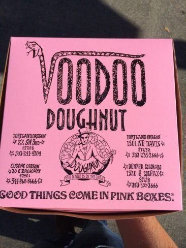 Box of donuts from VooDoo Donuts