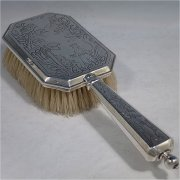 brushes in antique sterling silver