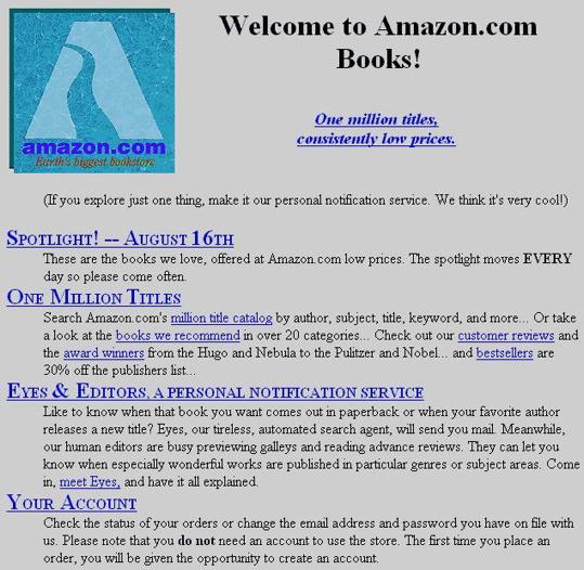 Amazon's first website look .