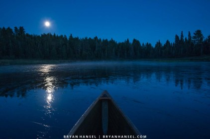 canoeing in the blue hour
