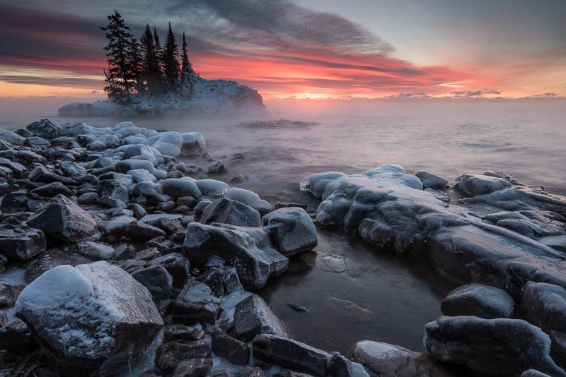 Lake Superior tombolo at sunrise
