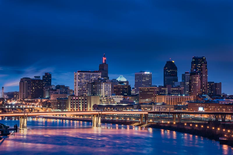 St. Paul city lights during the blue hour