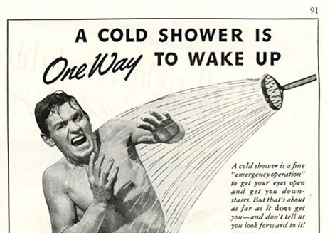 Retro ad: man receives a cold shower, showing what it feels like to be rebuked by a prophet.