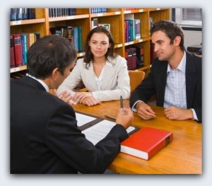 lawyer meeting clients