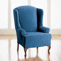 Brylanehome Chair Covers Royal Bh Studio Brighton Wing Slipcover Plus Size Sofa Navy