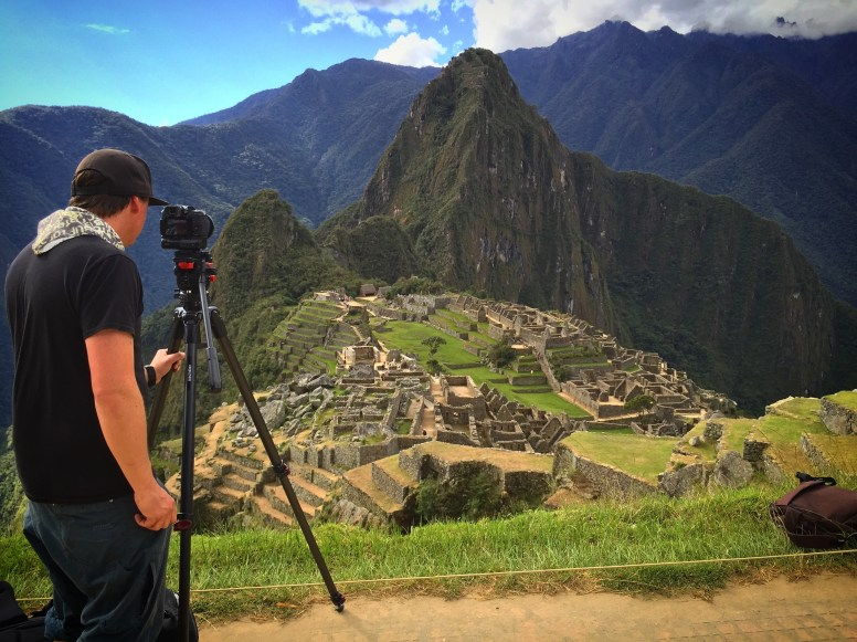 Getting time lapse shots at Machu Picchu, Peru for reality TV video production.