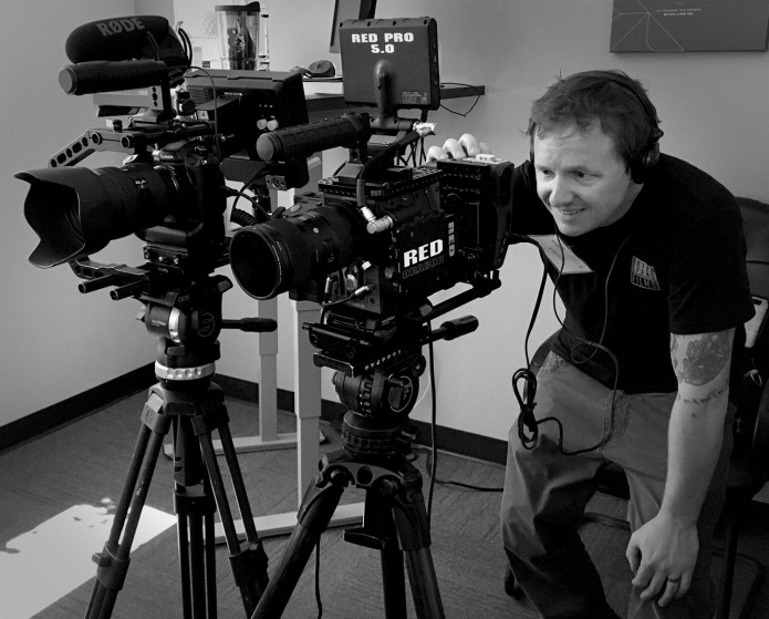 Setting up for two camera interview using RED Dragon & GH5