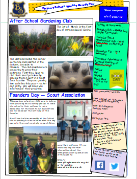 Weekly Newsletter w/e 1st March 2019