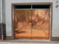 Torverkleidung Ausfuehrung in Stehfalztechnik Kupfer