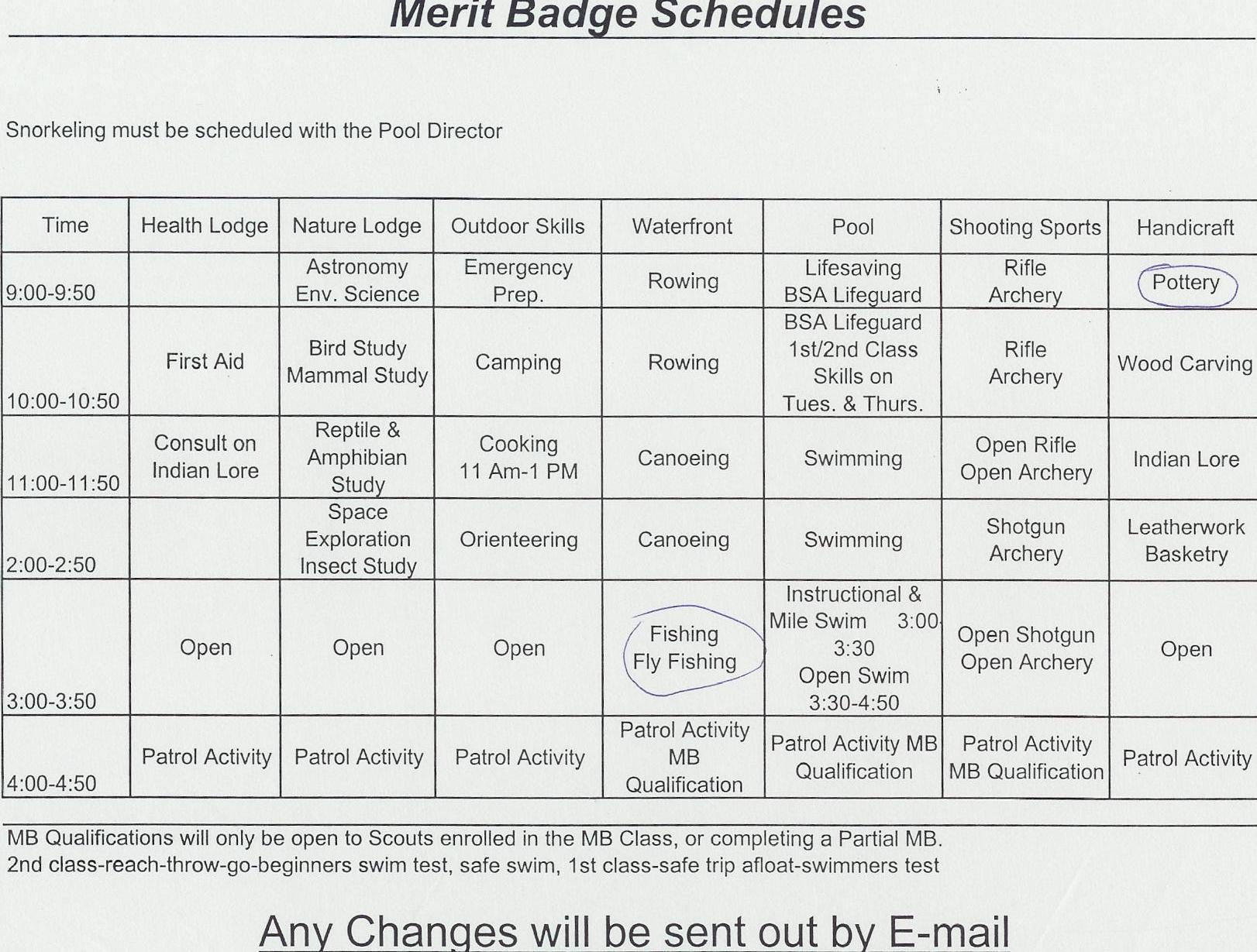 Seven Mountains Summer Camp 2004 Merit Badge Schedule