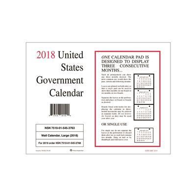 NSN5453763 Unknown 7510015453763 2018 Wall Calendar Unicor