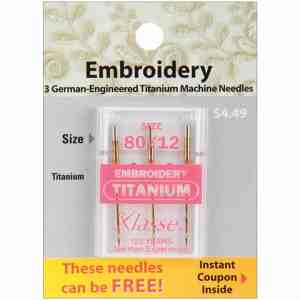 Klasse Titanium Embroidery Needles Size 80/12