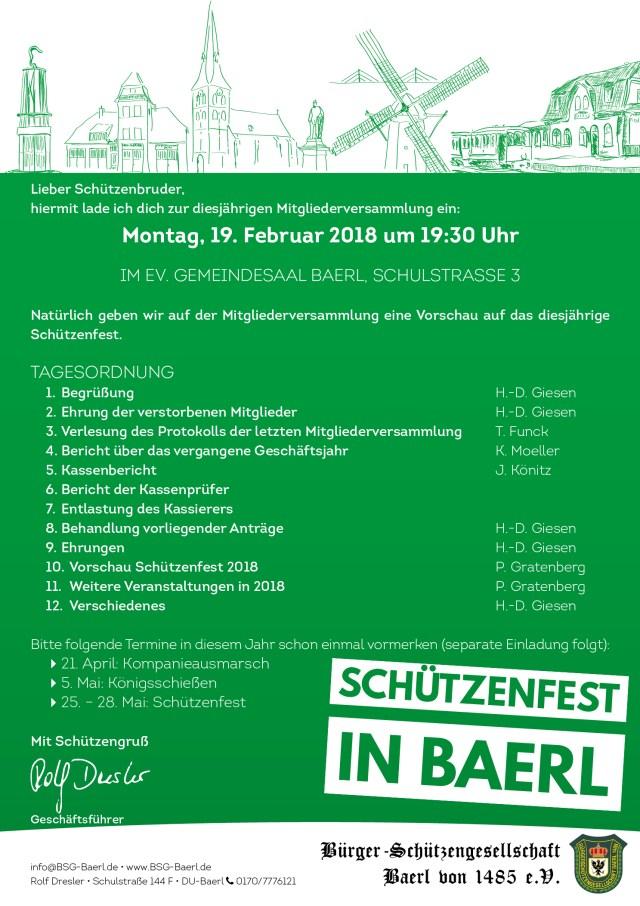 Einladung Mitgliederversammlung 2018