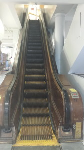 ONE of the WOODEN ESCALATORS on the upper floors of the largest Macy's in the world.