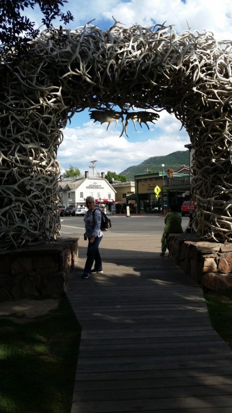 Mom in Jackson Hole Town Square.