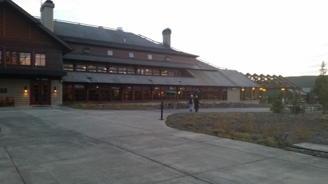 Old Faithful Snow Lodge at dusk.