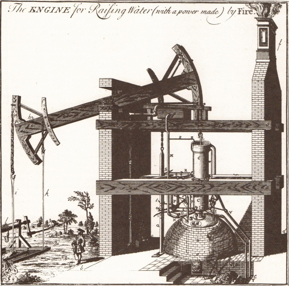 hight resolution of diagram of first newcomen engine by henry beighton 1717