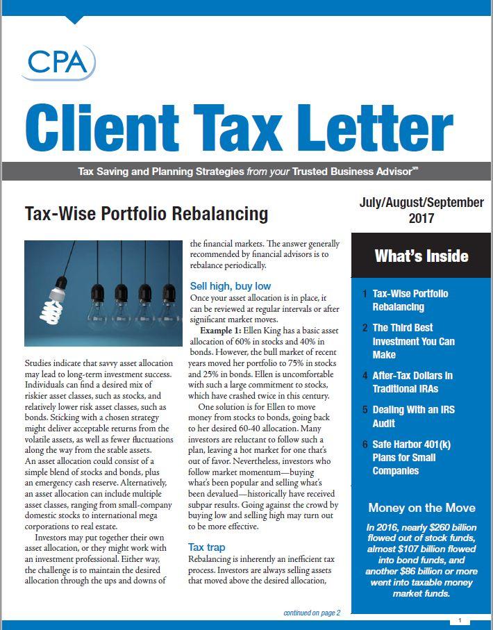 3rd Quarter 2017 Client Tax Letter  Balsamo Stewart