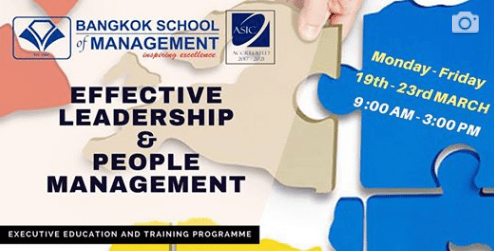 Date: March 19th – 23rd  Effective Leadership & People Management
