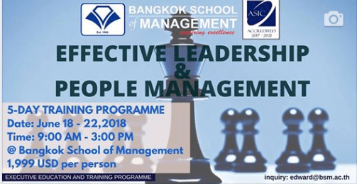 Date: June 18th-22nd Effective Leadership & People Management