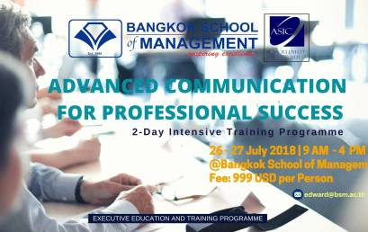 Date: July 26th – 27th  Advanced Communication for Professional Success