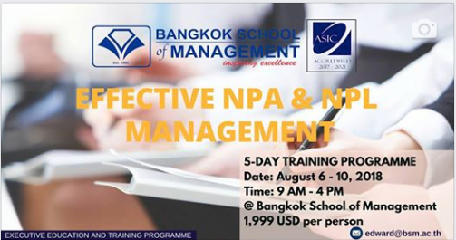 Date: August 6th – 10th  Effective NPA and NPL Management
