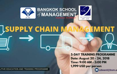 Date: August 20th – 24th Training Programme: Supply Chain Management